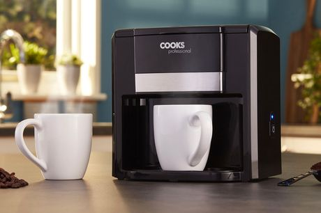 £9.99 instead of £49.95 for a Cooks Professional two-cup coffee maker for a from CJ Offers - save 80%