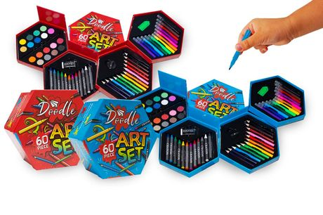 £7.99 for a children's 60-piece art set including felt tip pens, coloured pencils, watercolour paints and wax crayons from Avant Guarde Brands