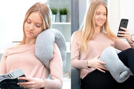 Nakkepude med massage.  Til alle spændingerne Puden har to forskellige vibrerende niveauer, så du kan indstille massage-apparatet, lige som du ønsker. Vibrationerne fremmer omløbet og er der-for med til at lindre stress og smerter.