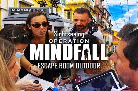 Escape room ao ar livre. Resolva puzzles, mistérios e enigmas em família ou com amigos. Escape Game Operation Mindfall  em Lisboa de 2 a 5 pessoas desde 42,50€