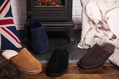 Redfoot Men's Suede and Australian Sheepskin Slippers