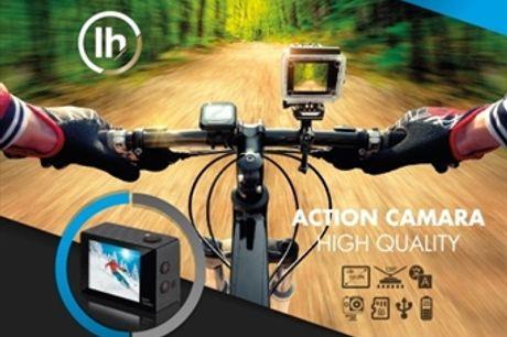 Câmara Desportiva HD com Acessórios por 17€. Resistente à água, para gravar todos os seus momentos de aventura e atividades. PORTES INCLUÍDOS.