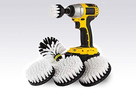 Få hjælp til rengøringen indendørs og udendørs rensebørster til montering på bore-/skruemaskine.