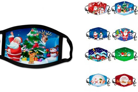 Genanvendelige ansigtsmasker med sjove julemotiver