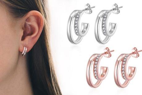 Philip Jones Double Hoop Earrings with Crystals from Swarovski®