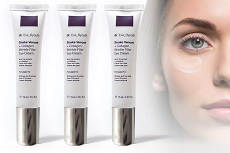 From instead of £45.01 for a 15ml tube of wrinkle filler eye cream formulated with synthetic snake venom peptide and collagen retinol from dr. Eve_ Ryouth - save up to 76%