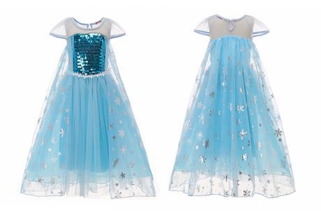 £11.99 instead of £29.99 for a kids' blue sequined snowflake princess dress in sizes 2-3y - 7-8y from YelloGoods - save 60%