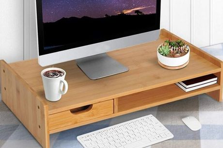 £39 instead of £44.99 for a Bamboo Desktop Stand with Drawer from Mhstar Uk Ltd - save 13%