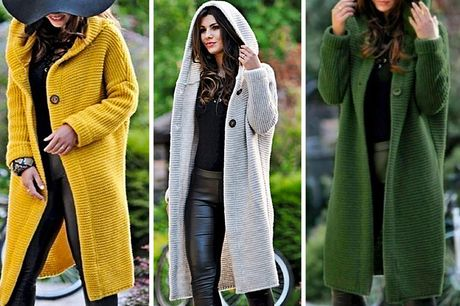 £14.99 instead of £45.99 for women's long hooded knit cardigan in UK sizes 8-16 from Domo Secret - save 67%