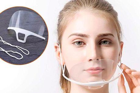 5 eller 10 mund-næse visir Visiret er super behageligt at have på og kan nemt justeres til din hovedstørrelse med de elastiske stropper i siderne. Og så kan det rengøres og genbruges, så du kan spare penge.
