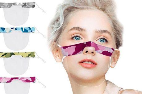 4 camouflagemønstret ansigtsvisir De smarte visirmasker er fremstillet i letvægts-plastik og vejer kun ca. 11 gram. Derfor er de super-behagelige at have på. Desuden kan maskerne justeres i størrelsen på snorene i siden, så både du og børnene kan bruge de
