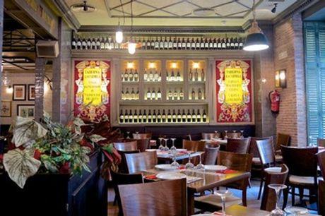 Menú para 2 o 4 personas con entrantes, principales, postres y bebidas en Taberna Carmela
