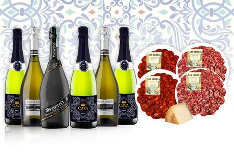 £64.99 instead of £101.09 for a hamper including prosecco, wine, cheese, and Iberian chorizo and salchichón from San Jamon - save 36%