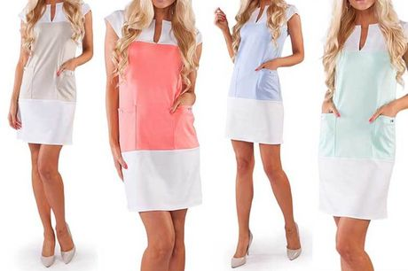£1 for a colour block shift dress – choose from four colours!