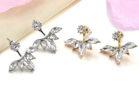 £1 for a pair of Crystal Leaf Cluster Earrings!