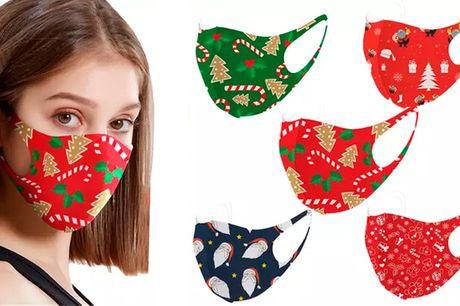 5 / 10 Stk. Yndige genanvendelige ansigtsmasker med hyggelige julemotiver