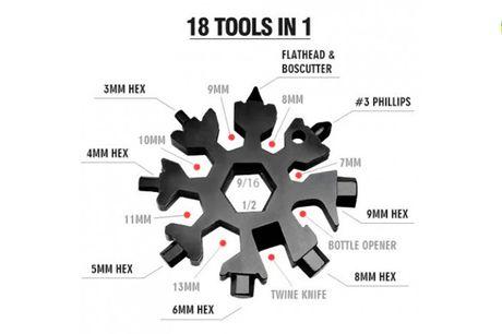 18-i-1 multiværktøj formet som et snefnug