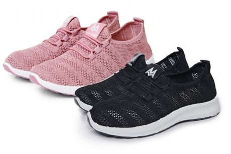 £9.99 instead of £31.01 for a pair of ladies patterned knit sneakers in black or pink, choose from sizes 3-8 from Evaniy – save 68%