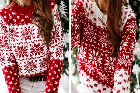 £11.99 instead of £39.99 for a women's Christmas jumper in red or white and UK sizes 8-16 from Wish Imports - save 70%