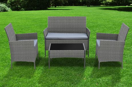 £119 instead of £370 for a four-piece rattan garden furniture set – choose black, brown or grey and save 68%