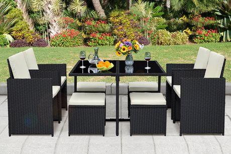£399 for a nine-piece cube durable polyrattan garden furniture set!
