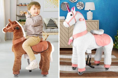 £149 for a kid's ride on rocking pony in a horse or unicorn design from Rattix!