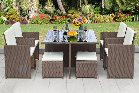 £399 for a nine-piece cube rattan furniture set - choose black, grey or brown!