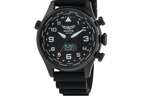 Luxe Aviator Smartwatch | Eenvoudig te koppelen aan je smartphone. Een smartwatch. Je denkt nu waarschijnlijk niet meteen aan een stijlvol ontwerp. Verfijnde horloge-design zijn dan vaak weer niet 'smart'  Bij het ontwerp van dit horloge werd mo