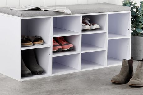Schoenenkast en bankje in 1 Inclusief zitkussen<br /> Ruimte voor 10 paar schoenen<br /> Eenvoudige montage