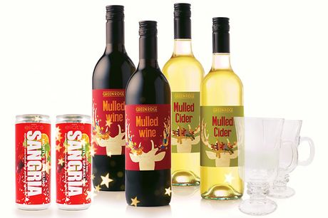 "Christmas Drinks Box              2 x 75cl bottle of Greenridge mulled wine (5.5% ABV)         2 x 75cl of Greenridge mulled cider (5% ABV)         2 x 250ml Eliot's Sangria         2 x Eliot's ""liqueur coffee style"" mulled wine branded glasses"