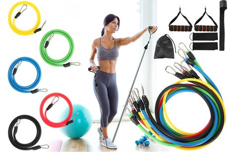 £8.99 instead of £34.57 for an 11-piece resistance bands set including handles, foot ring, door hook and storage bag from Fantasy Supply – save 74%