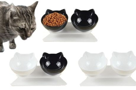 One or Two Two-Piece Anti-Vomiting Cat Bowl Sets