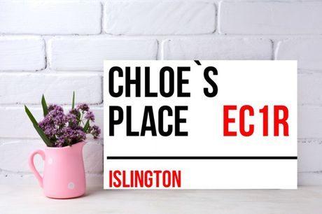 £7.95 for customised aluminium wall art in the style of a London street sign from Colour House Print!