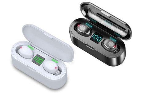 1 o 2 pares de auriculares inalámbricos con Bluetooth, funda de carga con Powerbank