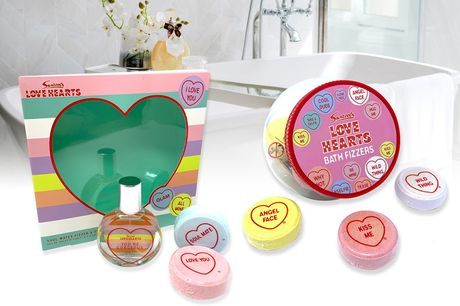 £8.99 for Love Hearts bath fizzers or £9.99 for Love Hearts bath fizzers and 50ml eau de toilette