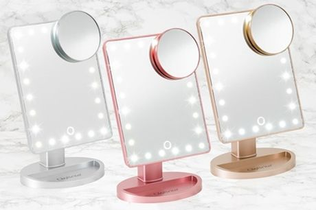 Touchscreen LED Metallic Make-Up Mirror