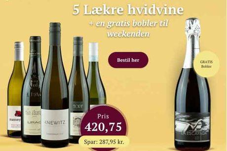5 af de mest populære hvidvine fra Winefamly. Fra sprød og frisk østrigsk Grüner Veltliner til fyldig, fransk Lirac. Også en gratis flaske Cava Brut bobler.