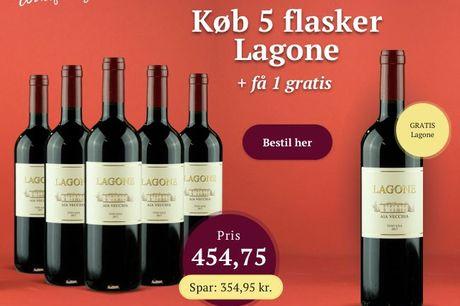 Mest solgte rødvin hos Winefamly i 2019. Frugtig og kraftfuld Lagone fra Toscana. Min. 12 måneders lagring. Du får 1 ekstra gratis ved køb af 5.