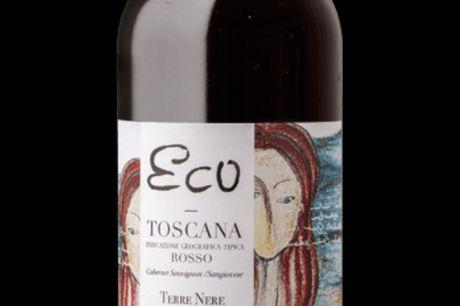 Terre Nere, Eco 2014. Den anden side af Toscana - i Terre Neres Eco er den lokale Sangiovese byttet ud med den internationale Cabernet Sauvignon - og her får du et helt andet bud på, hvordan italiensk vin også kan smage. Arketypisk duft af mørke bær, søde