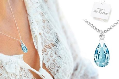 One, Two or Three Ah! Jewellery 925 Sterling Silver Pear Necklaces with Crystals from Swarovski®