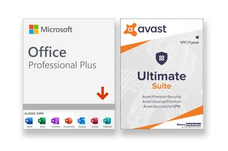 £49.99 instead of £419.99 for Microsoft Office Pro Plus, £54.99 for Microsoft Office Pro Plus with one year of Avast Ultimate Suite for one PC from Download Buyer - save up to 80%