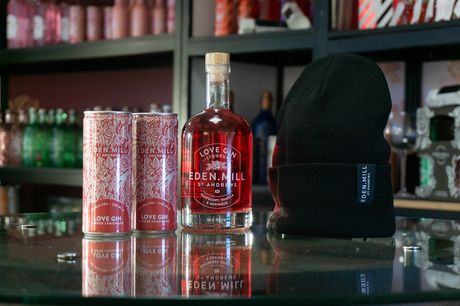£14.99 instead of £32 for an Eden Mill Love Gin bundle including one 50cl bottle of raspberry, vanilla and meringue liqueur, an Eden Mill beanie hat and two mystery cocktail cans - save 53%