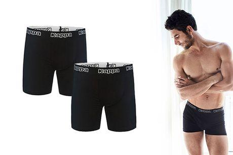 Trænger undertøjsskuffen til en opgradering, så glæd dig til at få hele 6 par sorte boksershorts fra populære KAPPA.