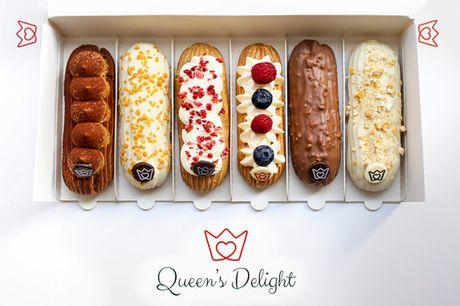 6 éclairs fra Queen's Delight. Eksklusiv smagekasse fra ægte fransk pâtisserie