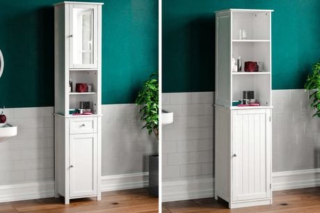 £54 instead of £99.99 for a bathroom two door tall cabinet, £59 for a one door and two shelf cabinet or £69 for a two-door cabinet with a mirror from Home Discount - save up to 46%
