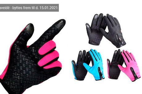Med disse vind- og vandafvisende handsker kan du holde fingrene både varme og tørre i det danske vejr. Vælg mellem flere størrelser og farver - inkl. fri fragt