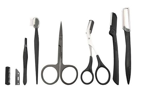 20-Piece Eyebrow & Facial Hair Trimmer Set     Includes:scissors, tweezers, facial razor with extra blades, a comb and more     Ideal for removing stray brow hairs as well as peach fuzz or nose hairs     Great for men and women to improve their routin