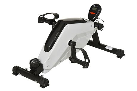 HOMCOM Adjustable Floor Elliptical Trainer     8 different levels of resistance allow you to adjust it to your ability     LCD display shows time, speed, distance and calories burned     Use it on the floor for leg exercises or place it on a table for