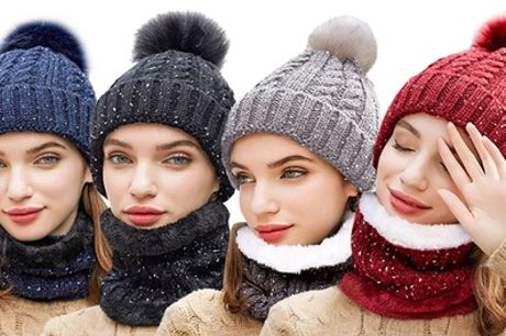 Women's Soft Fleece Hat and Neck Warmer