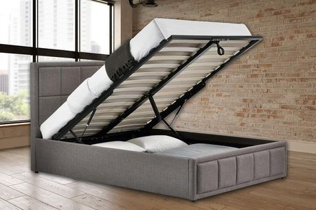 From £299 for a grey fabric ottoman bed with optional mattress from FTA Furnishing - save up to 42%